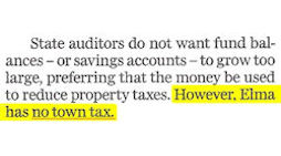 Elma: Too Much In Savings Accounts. No Town Tax!