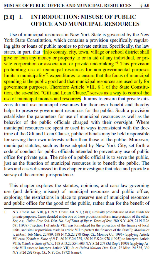 Nys Constitution Gift Of Taxpayer Money