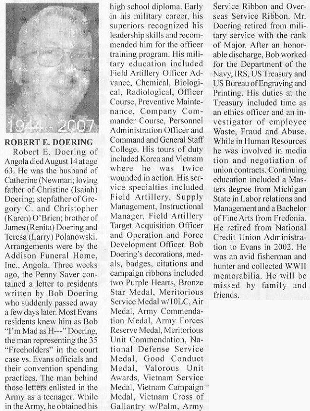 Major Robert Doering (Retired) Obituary