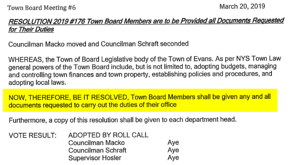 Town Of Evans Ny Minutes Resolution 176 2019 03 20