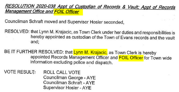 Town Of Evans Resoultion 38 Foil Officer2020 01 08