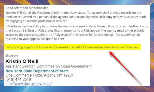 NYS COOG Encourages Hosler To Comply With The Law!