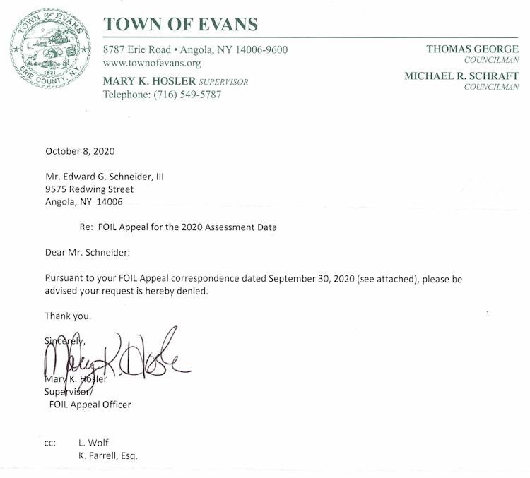 Supervisor Mary Hosler Foil Denial 10-18-2020
