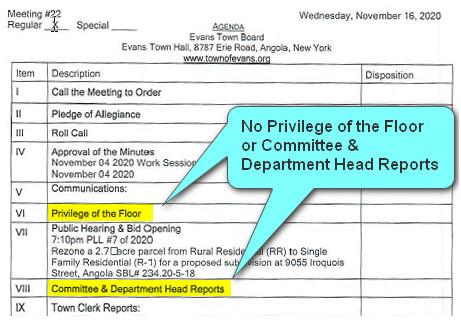 Evans NY Agenda 11-16-2020